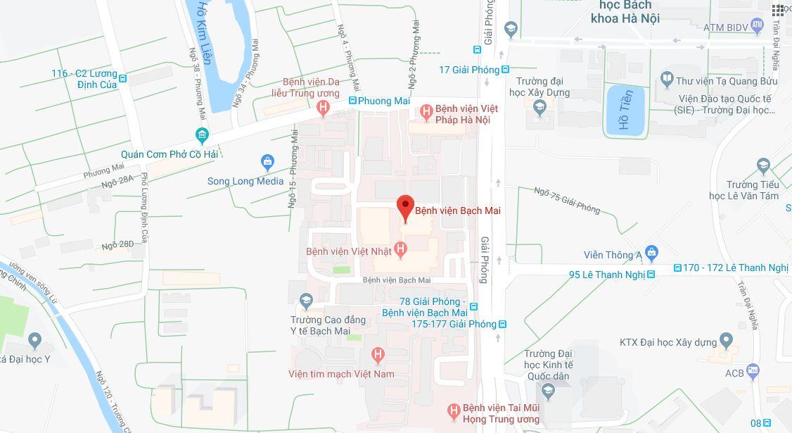 bệnh viện bạch mai google map - Bệnh viện Bạch Mai ở đâu