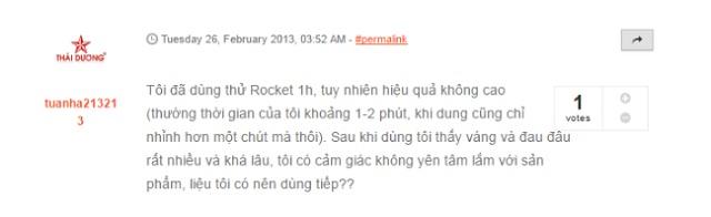 review uống rocket 1h có tốt không