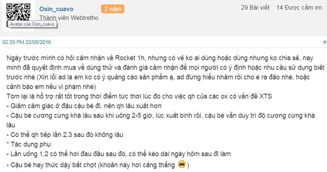 review về rocket 1h
